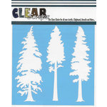 Clear Scraps - Christmas - Mascils - 6 x 6 Masking Stencil - Tree Pines