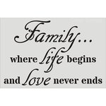 Clear Scraps - Wall Stencil - 18 x 24 - Family, Life, Love