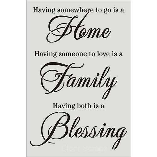 Clear Scraps - Wall Stencil - 18 x 24 - Home, Family, Blessings