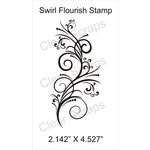 Clear Scraps - Cling Mounted Rubber Stamp - Swirl Flourish
