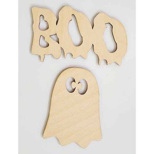 Clear Scraps - 3D Frameables Collection - Halloween - Birch Wood Laser Cut - Boo Word and Ghost