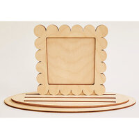 Clear Scraps - 3D Frameables Collection - Birch Base - Scallop Frame