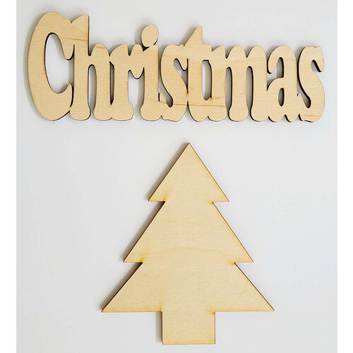 Clear Scraps - 3D Frameables Collection - Birch Wood Laser Cut - Christmas Word and Christmas Tree