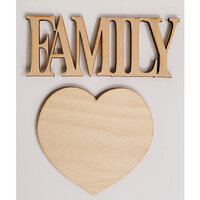 Clear Scraps - 3D Frameables Collection - Birch Wood Laser Cut - Family Word and Heart