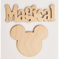 Clear Scraps - 3D Frameables Collection - Birch Wood Laser Cut - Magical Word and Mouse Head
