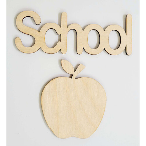 Clear Scraps - 3D Frameables Collection - Birch Wood Laser Cut - School Word and Apple