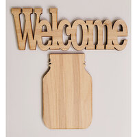 Clear Scraps - 3D Frameables Collection - Birch Wood Laser Cut - Welcome Word and Mason Jar