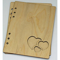 Clear Scraps - Birch Wood Laser Cut Album Covers - 6 x 8 - Hearts
