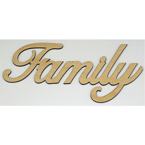 Clear Scraps - Wood Words - Scripted - Family