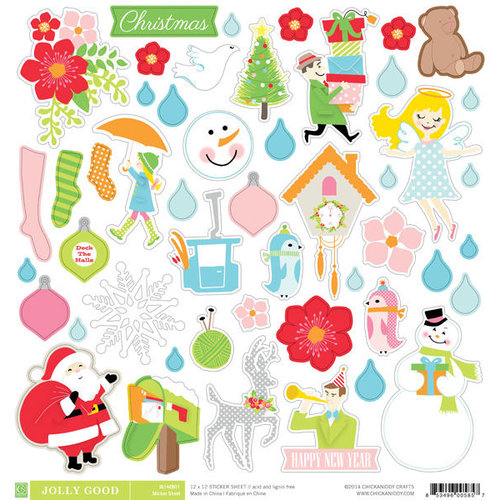 Chickaniddy Crafts - Jolly Good Collection - Christmas - 12 x 12 Cardstock Stickers