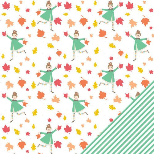 Chickaniddy Crafts - Scrumptious Collection - 12 x 12 Double Sided Paper - Frolic In The Leaves
