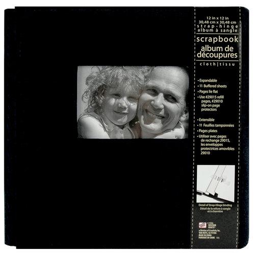 Colorbok - Westrim - Cloth - 12 x 12 Strap-Hinge Album - Black