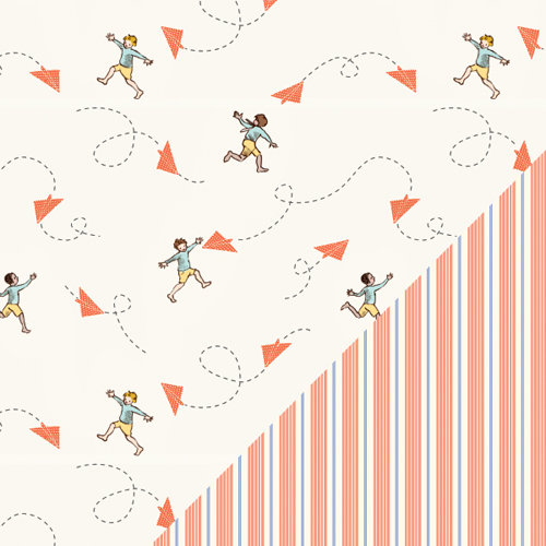 Colorbok - Making Memories - Sarah Jane Collection - 12 x 12 Double Sided Paper - Chasing Planes Orange Boy