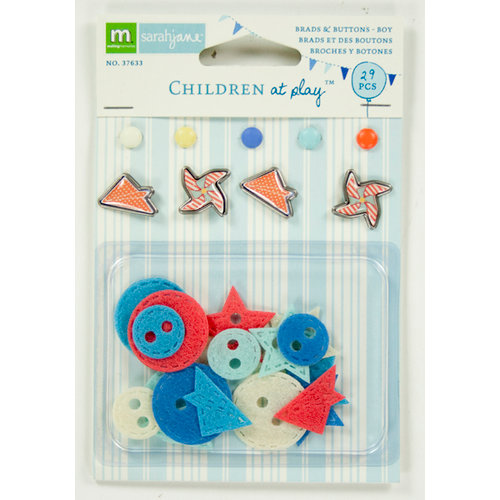 Colorbok - Making Memories - Sarah Jane Collection - Brads and Felt Buttons - Boy