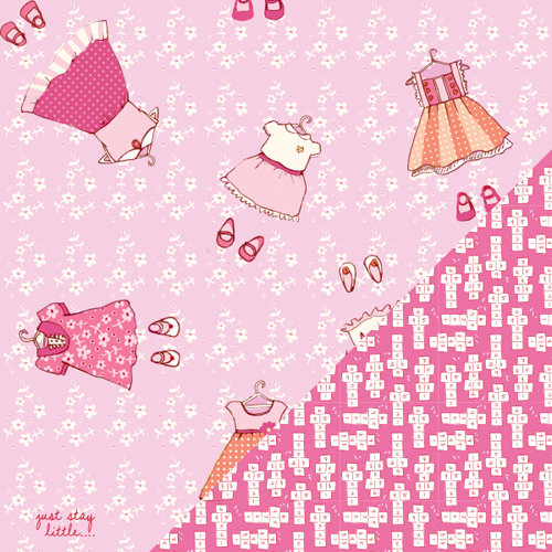 Colorbok - Making Memories - Sarah Jane Collection - 12 x 12 Double Sided Paper - Just Stay Little Girl