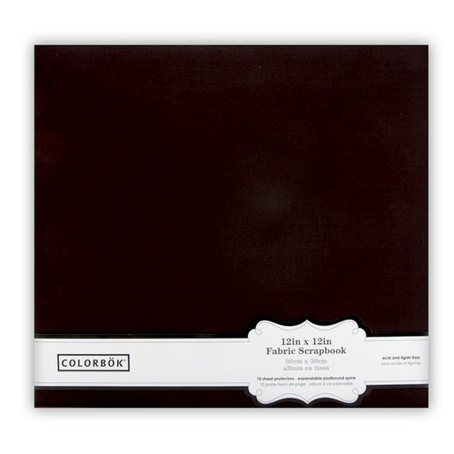 Colorbok - Fabric - 12 x12 - Postbound Scrapbook Albums - Black