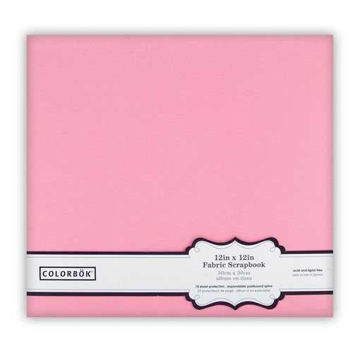 Colorbok - Fabric - 12 x12 - Postbound Scrapbook Albums - Light Pink