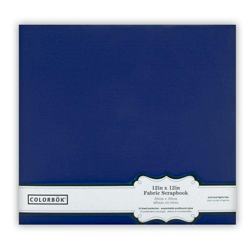 Colorbok - Fabric - 12 x12 - Postbound Scrapbook Albums - Navy