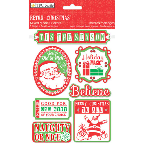 Colorbok - TPC Studio - Retro Christmas Collection - Chipboard Stickers with Foil Accents