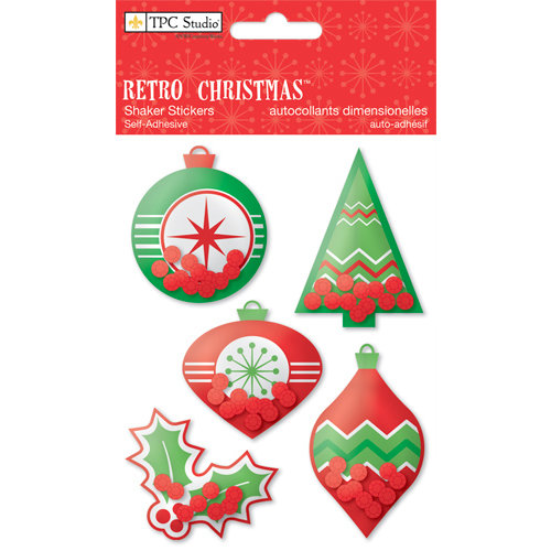 Colorbok - TPC Studio - Retro Christmas Collection - Shaker Stickers with Sequin Accents