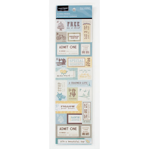 Colorbok - Antique Paperie Collection - Glitter Stickers - Phrases