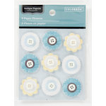 Colorbok - Antique Paperie Collection - 3 Dimensional Stickers - Button Flowers