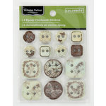 Colorbok - Victorian Parlour Collection - Epoxy Chipboard Stickers - Buttons