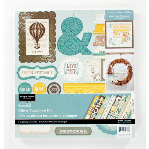 Colorbok - Antique Paperie Collection - 12 x 12 Punch Out Pad with Glitter Accents - Die Cuts