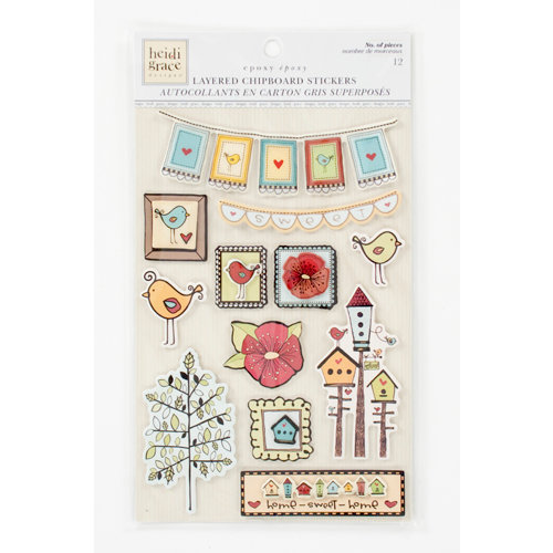 Colorbok - Heidi Grace Designs - Tweet Memories Collection - Layered Chipboard Stickers with Epoxy Accents