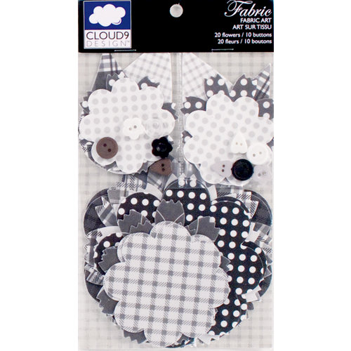 Colorbok - Cloud 9 Design - Nightshade Collection - Die Cut Cardstock Pieces - Printed Fabric Flowers with Buttons