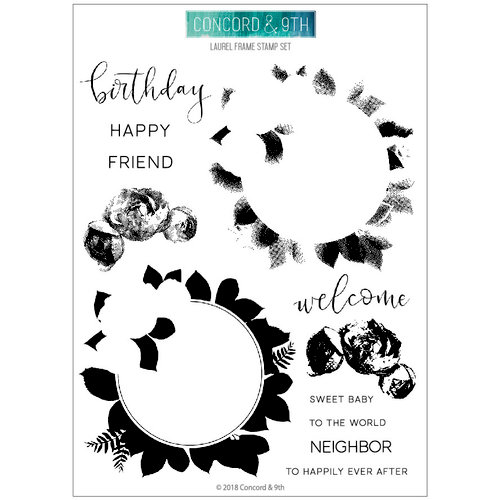 Concord and 9th - Clear Photopolymer Stamps - Laurel Frame