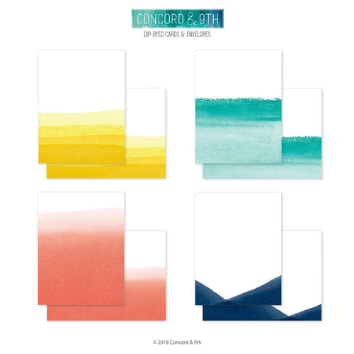 Concord and 9th - Winter Wonderland Collection - Cards and Envelopes - Dip Dyed
