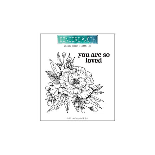 Concord and 9th - Clear Photopolymer Stamps - Vintage Flower