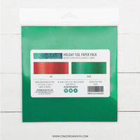 Concord and 9th - 6 x 6 Paper Pad - Holiday Foil Paper Pack - Red and Green