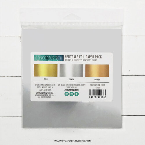 Concord and 9th - 6 x 6 Paper Pad - Neutrals Foil Paper Pack