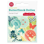 Cosmo Cricket - Social Club Collection - Lovely Bits - Butterflies and Doilies, BRAND NEW