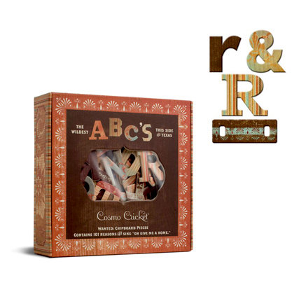 Cosmo Cricket - Cigar Box with 101 Chipboard Pieces and Shapes - Wanted