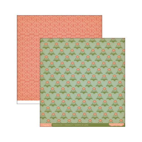 Cosmo Cricket - Evangeline Collection - 12 x 12 Double Sided Paper - Dandelion