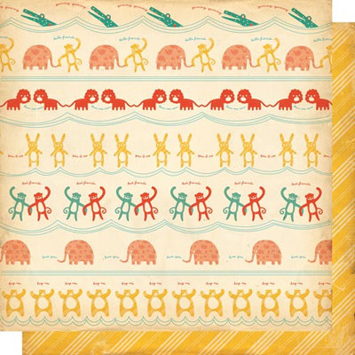 Cosmo Cricket - Jack's World Collection - 12x12 Double Sided Paper - Animal Friends