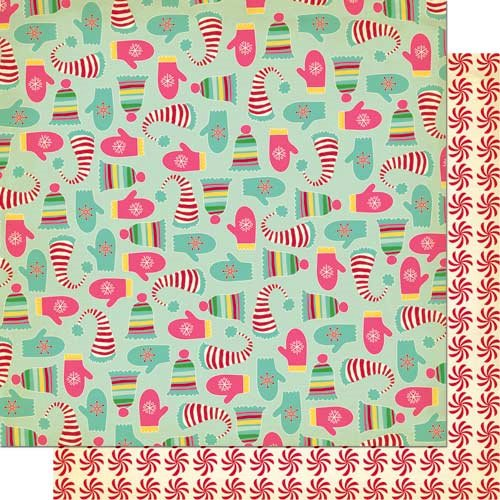Cosmo Cricket - Jolly By Golly Collection - 12 x 12 Double Sided Paper - Smitten Mitten