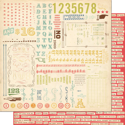 Cosmo Cricket - Odds and Ends Collection - 12 x 12 Double Sided Paper - Junk Drawer