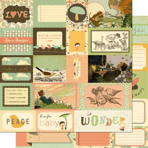 Cosmo Cricket - Earth Love Collection - 12 x 12 Double Sided Paper - Elements