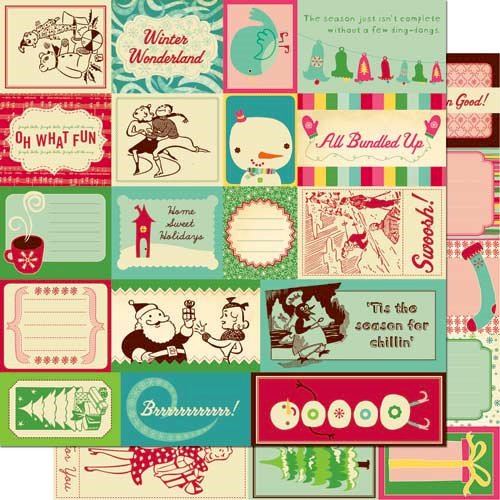 Cosmo Cricket - Jolly By Golly Collection - 12 x 12 Double Sided Paper - Elements