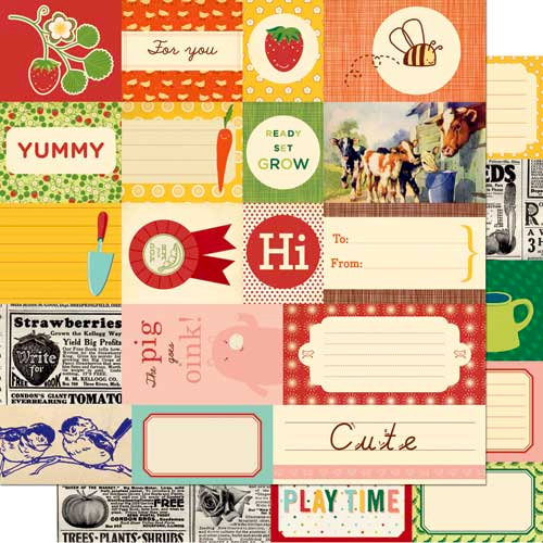 Cosmo Cricket - Garden Variety Collection - 12 x 12 Double Sided Paper - Elements, CLEARANCE