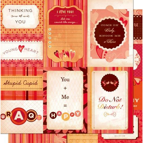 Cosmo Cricket - Chemistry Collection - Valentines - 12 x 12 Double Sided Paper - Journaling Cards