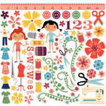 Cosmo Cricket - Material Girl Collection - Ready Set Chipboard, CLEARANCE