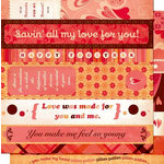 Cosmo Cricket - Chemistry Collection - Valentines - 12 x 12 Double Sided Paper - Strip Tease, CLEARANCE