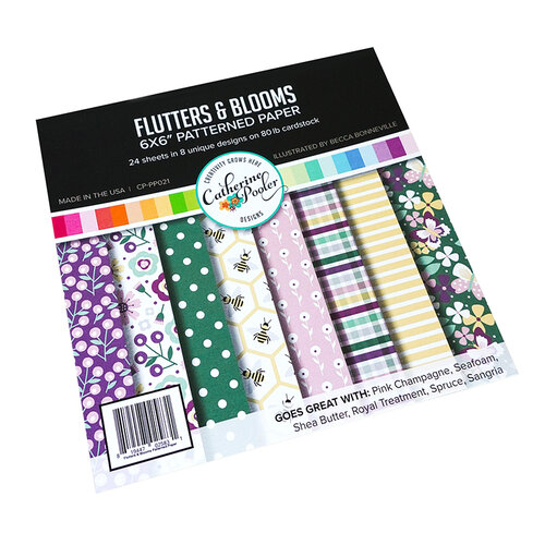 Catherine Pooler Designs - Flutters Collection - 6 x 6 Patterned Paper - Flutters Blooms