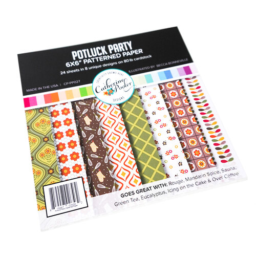 Catherine Pooler Designs - In The Kitchen Collection - 6 x 6 Patterned Paper - Potluck Party