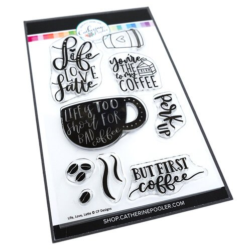 Catherine Pooler Designs - Let's Party Collection - Clear Photopolymer Stamps - Life Love Latte